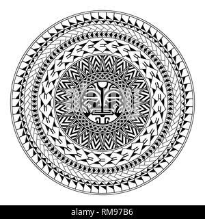 Polynesian circular ornament. Polynesian tattoo. Maori style. Abstract face - Stock Photo