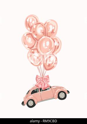 Pink female car with balloons for your design. Retro car. little pink Classic American Vintage - Stock Photo