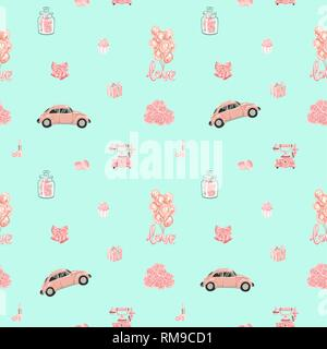 Seamless vector pattern with romantic objects in rose gold - Stock Photo