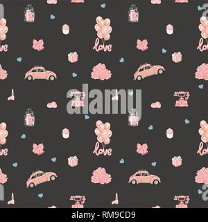 Seamless vector pattern with romantic objects in rose gold color. - Stock Photo