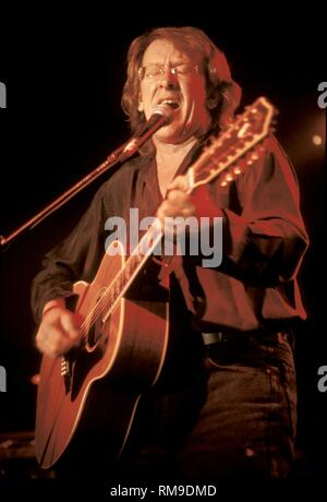 Guitarist singer & songwriter Paul Kantner of the Jefferson Starship is shown performing on stage during a 'live' concert appearance. - Stock Photo