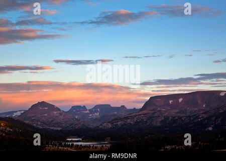WY03715-00...WYOMING - Island Lake and Night Lake at sunrise, located near the Beartooth Highway in Shoshone National Forest. - Stock Photo