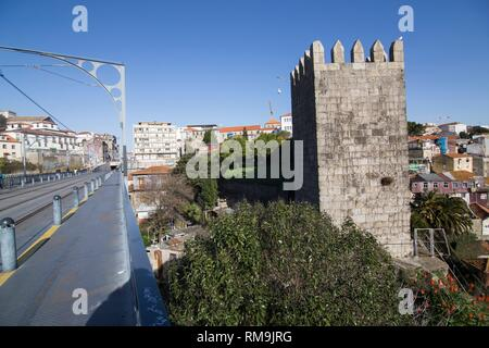 Cityscape in Porto, Portugal. View from the top of the Luis I bridge. - Stock Photo
