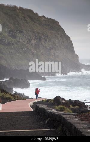 Storm over Termas de Ferraria in Sao Miguel island. Azores, Portugal. - Stock Photo