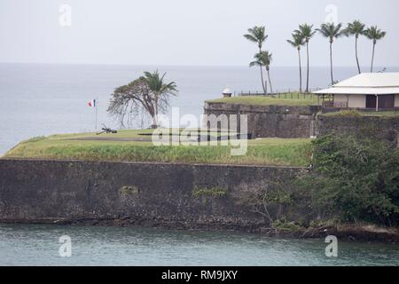 Fort de France from a ship Martinique island French Antilles Caribbean sea. - Stock Photo