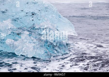 Diamond Beach Black Iceland beach with diamond ice blocks. - Stock Photo