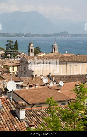 Beautiful aerial views of Desenzano del Garda, a town and comune in the province of Brescia, in Lombardy. Italy. - Stock Photo