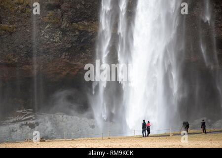 Waterfall Seljalandsfoss in winter, Iceland. - Stock Photo