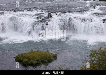Faxi-Wasserfall, Vatnsleysufoss, Faxafoss, Fluß Tungufljót - Stock Photo