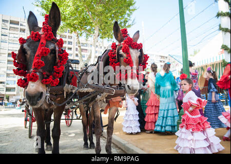 SPAIN, SEVILLE: The 'Feria de April', the April Fair, is Seville's most important festival besides the Semana Santa, the Easter week. A whole neighbou - Stock Photo