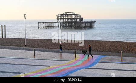 Brighton, UK. 14th Feb, 2019. A beautiful sunny morning on Brighton seafront by the West Pier as mild warm weather is forecast to spread across Britain with temperatures expected to reach the mid teens centigrade in some areas Credit: Simon Dack/Alamy Live News - Stock Photo