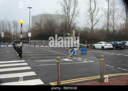 Trowbridge, Wiltshire, UK. 14th February 2019. Overnight there was a double stabbing near the Tesco Extra store. One victim rumoured to be critical. An overview of the scene from Tesco car park Credit: Starsphinx/Alamy Live News - Stock Photo