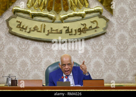 Cairo, Egypt. 14th Feb, 2019. Egypt's Parliament Speaker Ali Abdel Aal presides a session during which Parliament members are voting on the proposed constitutional amendments that will increase the country's President term in office from four to six years after deliberations a day earlier. If MPs voted in favour, the amendments will be referred to the Legislative and Constitutional Affairs Committee to be discussed in detail and to be finalized before being referred to the President to be put up for a public vote in a national referendum. Credit: Lobna Tarek/dpa/Alamy Live News - Stock Photo