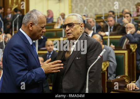 Cairo, Egypt. 14th Feb 2019. Bahaa El-Din Abu Shoka (R), head of the Legislative and Constitutional Affairs Committee of the Egyptian Parliament, speaks with MP Mustapha Bakri at a session during which members of the Egyptian Parliament are voting on the proposed constitutional amendments that will increase the country's President term in office from four to six years after deliberations a day earlier. Credit: dpa picture alliance/Alamy Live News - Stock Photo