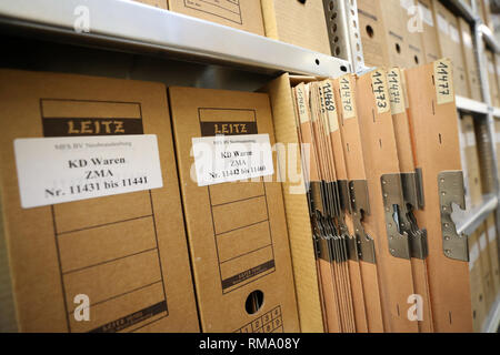 Neubrandenburg, Germany. 05th Feb, 2019. The archive of the Neubrandenburg branch office of the authority of the Federal Commissioner for Stasi Files BStU contains files from the former Stasi District Office Waren. The St. George's Church in Waren is to become the central memorial site for the peaceful revolution of 1989. Credit: Bernd Wüstneck/dpa-Zentralbild/ZB/dpa/Alamy Live News - Stock Photo
