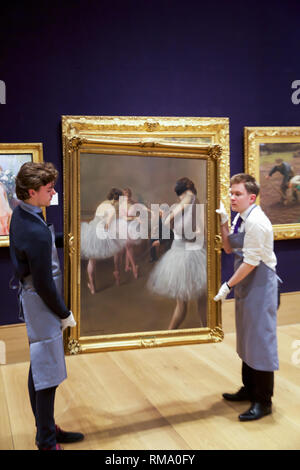 London, UK. 14th Feb, 2019. Bonhams Photocall for Laura Knight's Fine Circus Act 19th Century Sale took place at Bonhams New Bond Street. On display: PIERRE CARRIER-BELLEUSE (French, 1851-1932) The ballet lesson estimated at £ 30,000 - 50,000 The works have been in the same private collection for over 50 years. Credit: Keith Larby/Alamy Live News