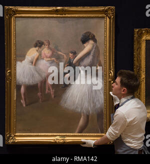 Bonhams, New Bond Street, London, UK. 14 February, 2019. The Ballet Lesson by Pierre Carrier-Belleuse on viewat Bonhams New Bond Street saleroom in the 19th Century European, Victorian and British Impressionist Art sale preview. It has an estimate of £30,000-50,000. Credit: Malcolm Park/Alamy Live News.