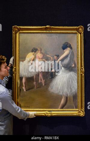 London, UK. 14th Feb, 2019. The Ballet Lesson, by Pierre Carrier-Belleuse (French, 1851-1932), oil on canvas. Estimate: £30,000-50,000. : Claire Doherty/Alamy Live News