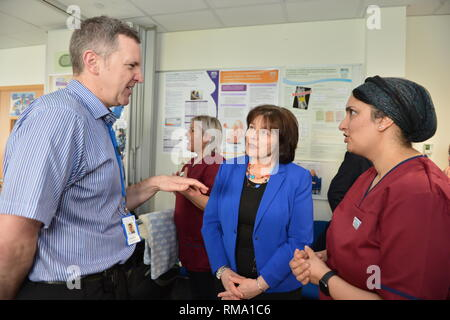 Kilmarnock, UK. 14 February 2019.(L-R) (L-R) Calum Morrison - Consultant Paedrician, Associate Medical Director Women Children & Diagnostics NHS Ayrshire and Arran; Health Secretary - Jeane Freeman; Attica Wheeler - Head of Midwifery Associate Nurse Director, NHS Ayrshire and Arran. Transforming maternity and neonatal care across Scotland Cabinet Secretary for Health Jeane Freemanl visits Crosshouse Hospital in NHS Ayrshire and Arran to announce a £12 million investment which will ensure mums, babies and other family members are all supported from pregnancy to birth and after. This includes - Stock Photo