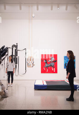 RA, London, UK. 14 February, 2019. Premiums Interim Projects exhibition in the new Weston Studio and The McAulay Gallery at the Royal Academy of Arts, previewing postgraduate students  from the UK's longest established art school. Image: General view of the Weston Studio. Credit: Malcolm Park/Alamy Live News. - Stock Photo