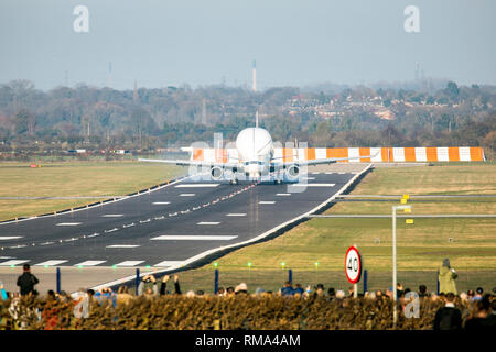 Hawarden Airport, Hawarden Flintshire, Wales, UK 14th February 2019.  Perfect weather for the first ever landing of the Airbus Beluga XL transporter plane that took off from Toulouse Airport and arrived at the Hawarden Airport for testing and ground crew exercises. Excitement has grown in the area and with plane enthusiasts as the plane known as the 'flying whale' arrived Credit: DGDImages/Alamy Live News - Stock Photo