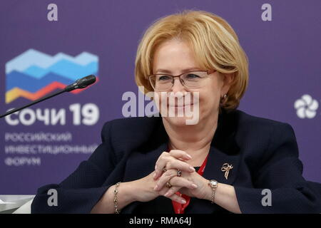 Sochi, Russia. 14th Feb, 2019. SOCHI, RUSSIA - FEBRUARY 14, 2019: Russia's Minister of Health Veronika Skvortsova at the round table discussion 'Healthy Life Expectancy: the Foundation of Social Development' at the 2019 Russian Investment Forum, at the Sochi Olympic Park's Main Media Centre. Stanislav Krasilnikov/TASS Host Photo Agency Credit: ITAR-TASS News Agency/Alamy Live News - Stock Photo
