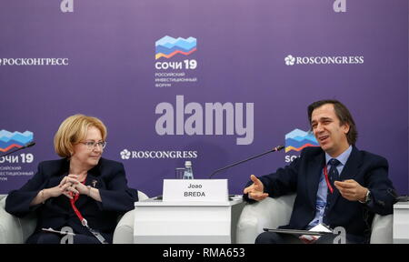 SOCHI, RUSSIA - FEBRUARY 14, 2019: Russia's Minister of Health Veronika Skvortsova (L), and Joao Breda, Head of the World Health Organization (WHO) European Office for the Prevention and Control of Noncommunicable Diseases and Programme Manager for Nutrition, Physical Activity and Obesity at the WHO Regional Office for Europe, at the round table discussion 'Healthy Life Expectancy: the Foundation of Social Development' at the 2019 Russian Investment Forum, at the Sochi Olympic Park's Main Media Centre. Stanislav Krasilnikov/TASS Host Photo Agency - Stock Photo