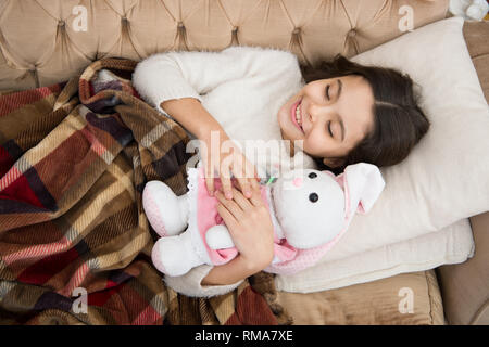 Childhood happiness. Good night. family and love. childrens day. Good morning. Child care. small girl child. Sweet dreams. happy little girl sleep in bed. Beautiful princess. - Stock Photo