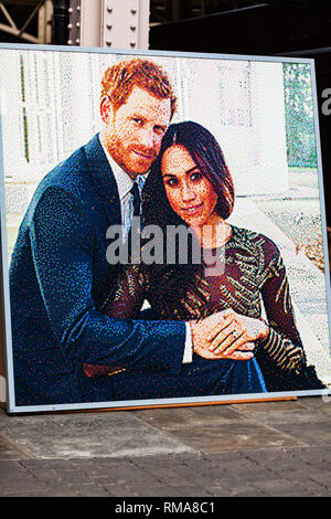 BIRMINGHAM, UK - March 2018 Photograph of the British Royal Couple The Duke and Duchess of Sussex United Kingdom. Prince Harry and Meghan Markle Frame - Stock Photo