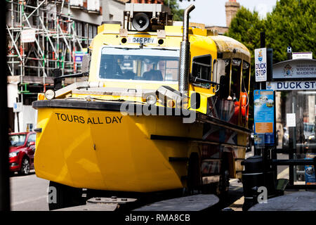 BIRMINGHAM, UK - March 2018 London Duck Tours Amphibious Vehicle use for Sightseeing on Land and Water. Yellow Transportation Parked on Windsor Roadsi - Stock Photo