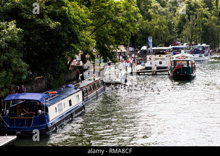 BIRMINGHAM, UK - March 2018 Boats for Sightseeing Moored at River Thames Harbor. Commuters Boarding the Vessel for Day Trip. Flock of Swans Wading on  - Stock Photo