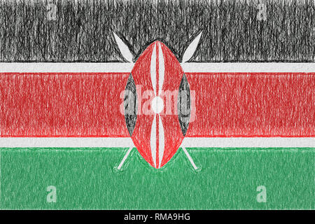 Kenya painted flag. Patriotic drawing on paper background. National flag of Kenya - Stock Photo