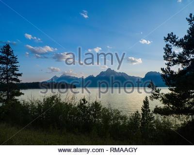 Mount Moran and Jackson Lake, Colter Bay, Grand Teton National Park, Teton County, Wyoming, USA - Stock Photo