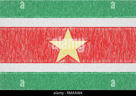Suriname painted flag. Patriotic drawing on paper background. National flag of Suriname - Stock Photo