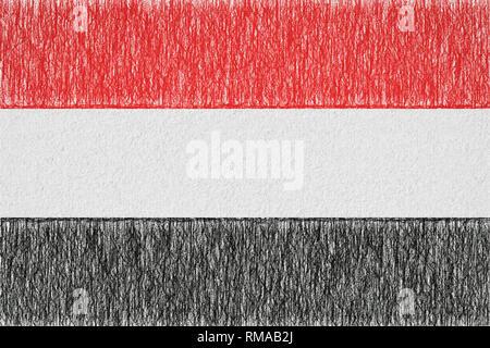 Yemen painted flag. Patriotic drawing on paper background. National flag of Yemen - Stock Photo