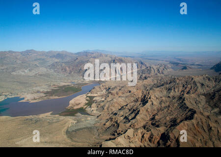 Aerial view of mountain range by Mead Lake, Nevada - Stock Photo