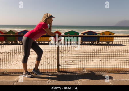 Senior woman leaning on a railing at beach - Stock Photo