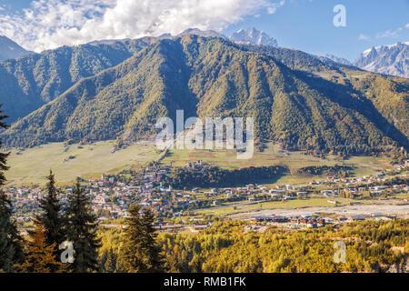 Caucasian landscape, aerial view of the town Mestia in mountain valley, Upper Svaneti, Georgia