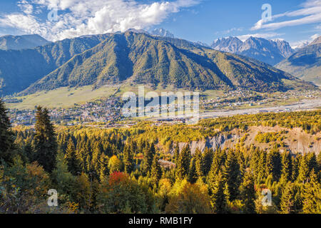 Scenic Caucasian autumn landscape, aerial view of the town of Mestia in a mountain valley, Upper Svaneti, Georgia