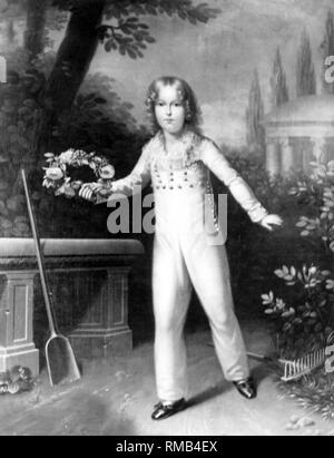 Napoleon, Duke of Reichstadt (as Emperor of the French Napoleon II), son of Napoleon I Bonaparte and Archduchess Marie Louise of France. After a painting in Schoenbrunn. - Stock Photo