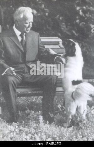 The writer Mikhail Sholokhov (1905-1984) in Veshenskaya. Photograph - Stock Photo