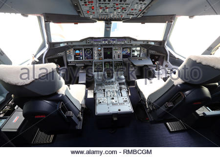 File photo dated 4/7/2013 of the flight deck of a British Airways Airbus A380. Airbus has announced it will cease deliveries of its flagship A380 superjumbo passenger jet in 2021. - Stock Photo