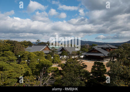 Scenic view, Honmaru Garden, Nijo-ji Castle (UNESCO World Heritage Site), Kyoto, Japan - Stock Photo