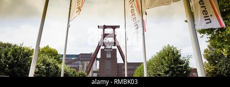 Headframe mine Zollverein Shaft XII, Essen, Ruhr district, North Rhine-Westphalia, Germany, Europe, - Stock Photo