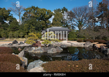 Honmaru Garden, pond and pavilion, Nijo-ji Castle (UNESCO World Heritage Site), Kyoto, Japan - Stock Photo
