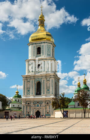 Kyiv, Ukraine - August 17, 2013: View of Saint Sophia Cathedral Bell tower in Kyiv, Ukraine. Sophia Cathedral (Eastern Orthodox Cathedral, 11th centur - Stock Photo