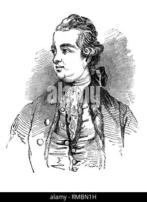 Edward Gibbon (1737-1794) was an English historian, writer and Member of Parliament. His most important work, The History of the Decline and Fall of the Roman Empire, was published in six volumes between 1776 and 1788 and is known for the quality and irony of its prose, its use of primary sources, and its polemical criticism of organised religion. - Stock Photo