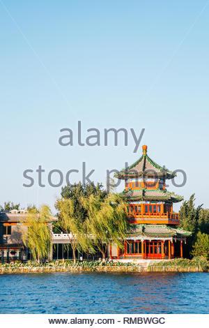 Shichahai Houhai lake and Chinese traditional pavilion in Beijing, China - Stock Photo