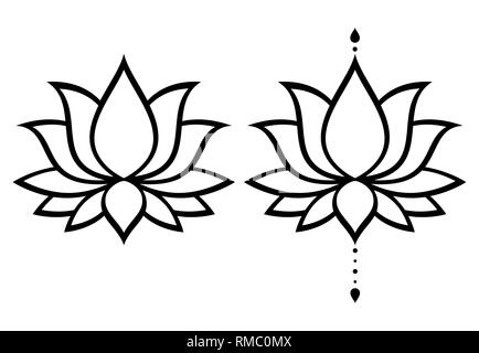 Lotus flower vector design set, Yoga or zen decorative background - boho style - Stock Photo