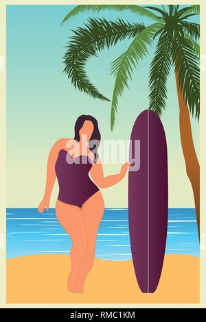 Tropical landscape. Sea landscape Summer background Girl with surfing board Flat style illustration. Palm trees. Vector illustration - Stock Photo